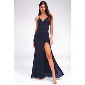 Lulus Leandra Navy Blue Lace Maxi Dress